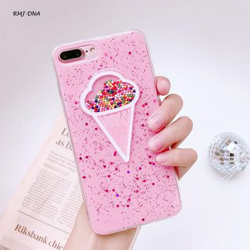 RMJ-DNA For iphone 8 8 Plus More Pink 3D Ice Cream Case Flowing Soft Powder Beads Silicon Phone Cases For iphone 7 6S Plus Cover