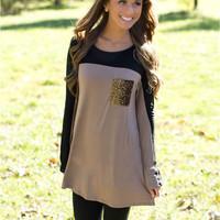 Black and Khaki Sequined Pocket Shirt