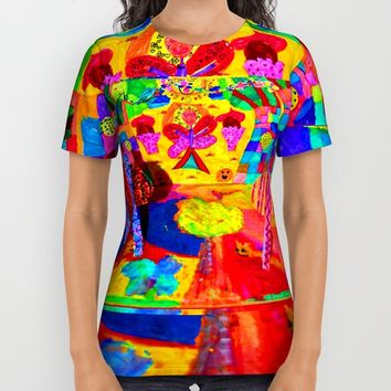 Colorful Feast | Kids Painting All Over Print Shirt by Azima
