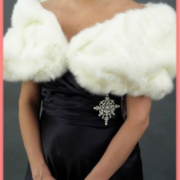 Fauz Fur White Mink Stole Evening Wrap