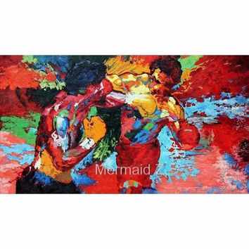 """Hand painted Leroy Neiman""""Rocky vs Apollo""""Palette knife Abstract Artists Paintings PAINTING on Canvas Movie Poster Boxing Sports"""