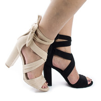 Morris16 Peep Toe Strappy Leg Wrap High Block Heeled Sandals