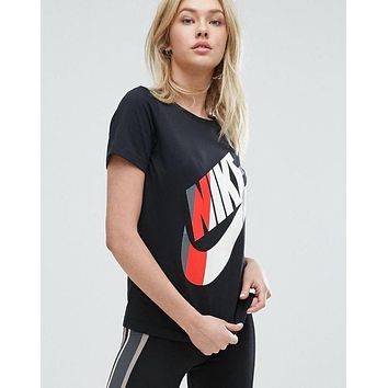 Nike Womens Striped Logo T-Shirt