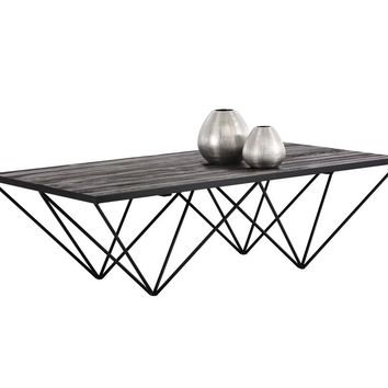 MUFFIN IRON BASE WITH BLACK PLANKS OF RECYCLED PINE TOP RECTANGULAR COFFEE TABLE