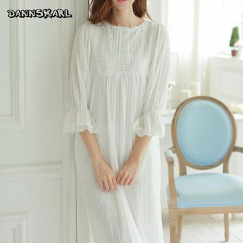 New Long Women Sleepwear White Palace-style Female Dress Ruffles Ankle-Length Vintage Vestidos Sexy Nightgown Home Clothes S M L