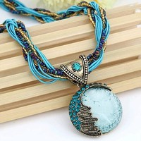 FAMSHIN Women Jewelry Gem Crystal Multilayer Beads Chain Handmade Bohemia Style Retro Necklace