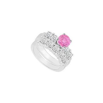 14K White Gold : Pink Sapphire and Diamond Engagement Ring with Wedding Band Set 1.40 CT TGW