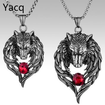 Couple necklace stainless steel wolf pendants W chain valentine day romatic jewelry gifts for hime and her ping GN41