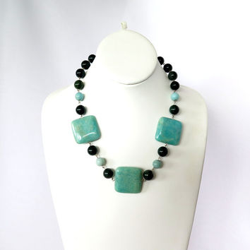 Amazonite and bloodstone necklace, Fine Jewelry Statement Necklace
