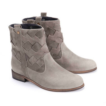 Womens Grey Woven Leather Boot