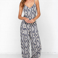 High Desert Nights Cream and Blue Print Jumpsuit