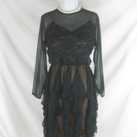 1960s Miss Elliette Black Chiffon Vintage Lace Cocktail Party Dress W 28