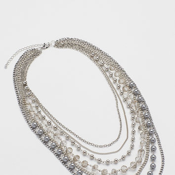 layered chain necklace with gray faux pearls