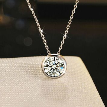Cute 925 Silver Pendant Round Necklace