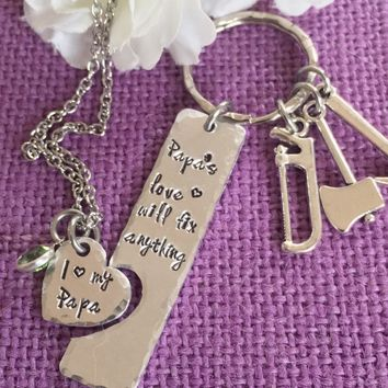 Father's Day gift - Daddy Daughter - Grandpa - Papa fixes everything - Grandpa grand daughter jewelry set - Gift for grandpa