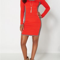 Red Hourglass Knit Sweater Dress