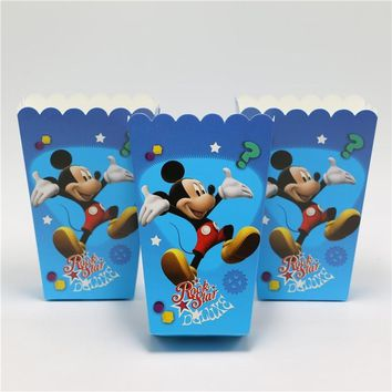 6pcs/lot Mickey Mouse Cartoon Theme Birthday Party Decorations Kids Popcorn Box Candy Girls Boys Favor Suppliers Disposable