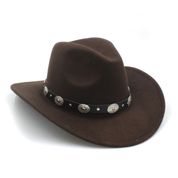 100% Wool Womem Men Western Cowboy Hat With Wide Brim Punk Belt Cowgirl Jazz Cap With Leather Toca Gentleman Sombrero Cap 23