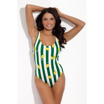 The Anne-Marie Classic One Piece Swimsuit - Lemons
