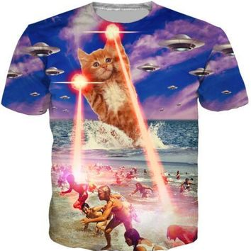 the kitten Food Pizza T-Shirt 3D Print Beach laser cat tshirts Women Summer O-Neck Hipster Tees UFO Cats Tops Outfits Oversize