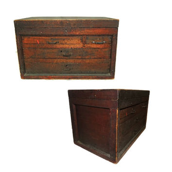 Wood Machinist Tool Box Beveled Sides Carpentry Antique