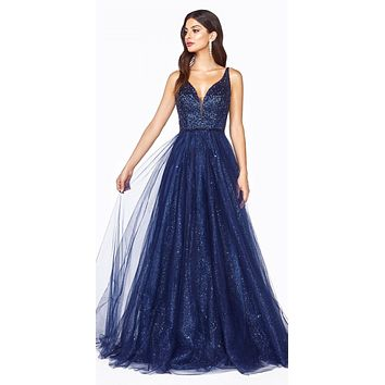 Glittery Long Prom Dress with V-Neck Navy Blue