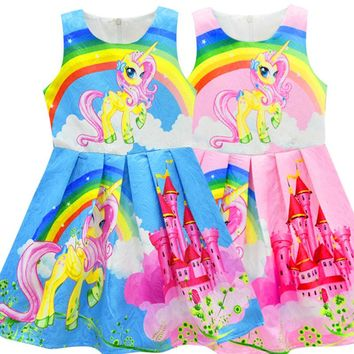 2018 Summer Unicorn Dresses Girls Princess Birthday Party Dress Kids Clothes Children Trolls Costume Vestido Beauty and Beast