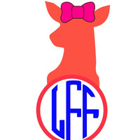 Doe with Bow and Monogram Decal Add Personality to Christmas Gifts, Great personal Gift, Gift Wrap Option, Personalize So Many Things
