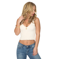 Angel Knit Crop Tank In Ivory