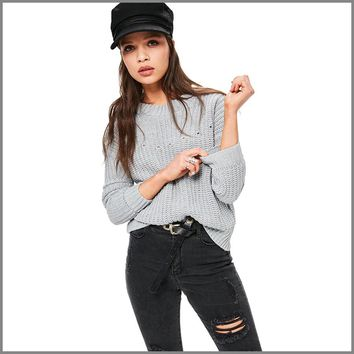 Sexy Backless Gray Sweater Women Loose Solid Cropped Sweaters Pull Pullover Jumper Chandail Femme Ugly Christmas Sweater 50N0534