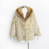 Vintage 1960s Jacket - Beige Lamb and Fox Fur Collar Cropped 60s -XL / Large