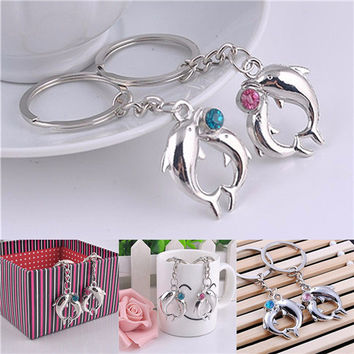 Lovely Lovers Alloy Key Chain Romantic Distinctive Couple Dolphin Keychain Gifts  SM6