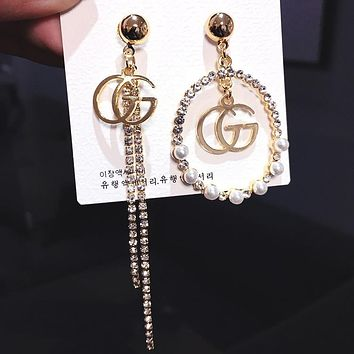 GUCCI New Fashionable Women Diamond Tassel Pendant Earrings Accessories Jewelry Golden