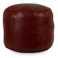 Garnet Tabouret Fez Pouf Round Genuine Leather