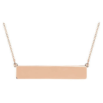 "14K Gold Engravable Bar 19.5"" Necklace"