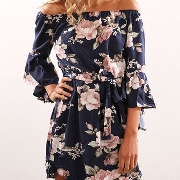 Streetstyle  Casual Boho Off The Shoulder Floral Print Dress