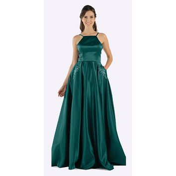 Emerald Green Long Satin Prom Dress Halter Spaghetti Strap with Pockets