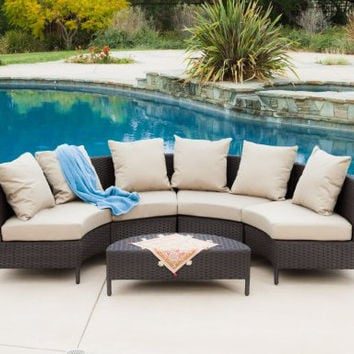 Sigma outdoor rattan furniture 5-piece wicker lounge set small sectional sofa