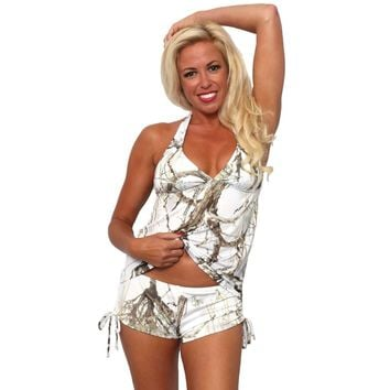 Women's White True Timber Tankini Top/Shorts Swimwear