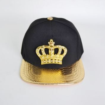 KING Crown Mens Womens Snapback Hats Baseball Caps Hip Hop Hats Black Gold