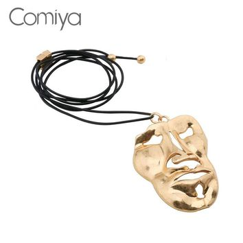Comiya Steampunk Necklaces For Women Face Pattern Personality Big Pendant Necklace Black Rope Chains Zinc Alloy Colar Feminino