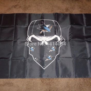 San Jose Sharks  Skull mask  Flag NHL 3x5FT Banner 100D Polyester flag brass grommets , free shipping