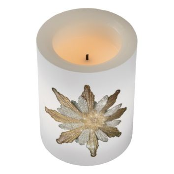 Gold Snowflake Wrapped LED Flameless Candle