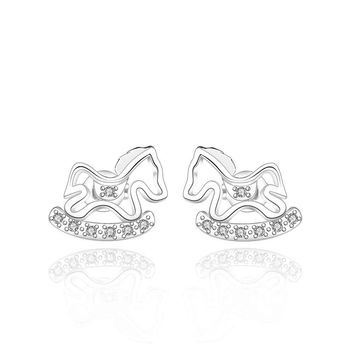 silver plated earing Toy horse stud Earring silver plated Earrings 538 MP