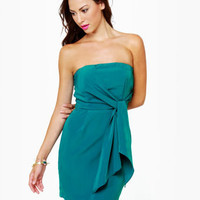 Cute Strapless Dress - Teal Dress - $37.00
