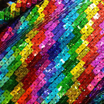 Rainbow Heavy embroidered multicolour Sequins Celebrity, belly dancer dress sparkling bridesmaid bridal, wedding trimming Fabric (Per Metre)