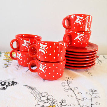 6 Red Waechtersbach Butterfly and Polka Dots Coffee Mugs and Saucers, Waechtersbach Germany Tea Cups and Saucers, Butterfly Cups and Saucers