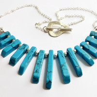 Turquoise necklace, graduated magnesite bars silver chain necklace, heart clasp, UK shop