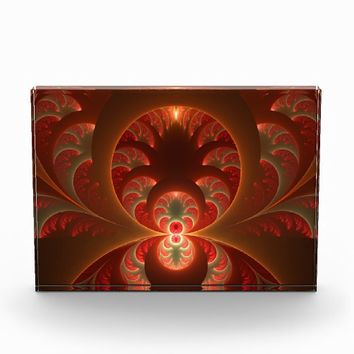 Luminous abstract modern orange red Fractal Acrylic Award
