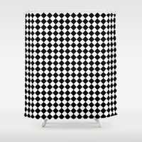 Black and white art deco diamonds Shower Curtain by Laureenr